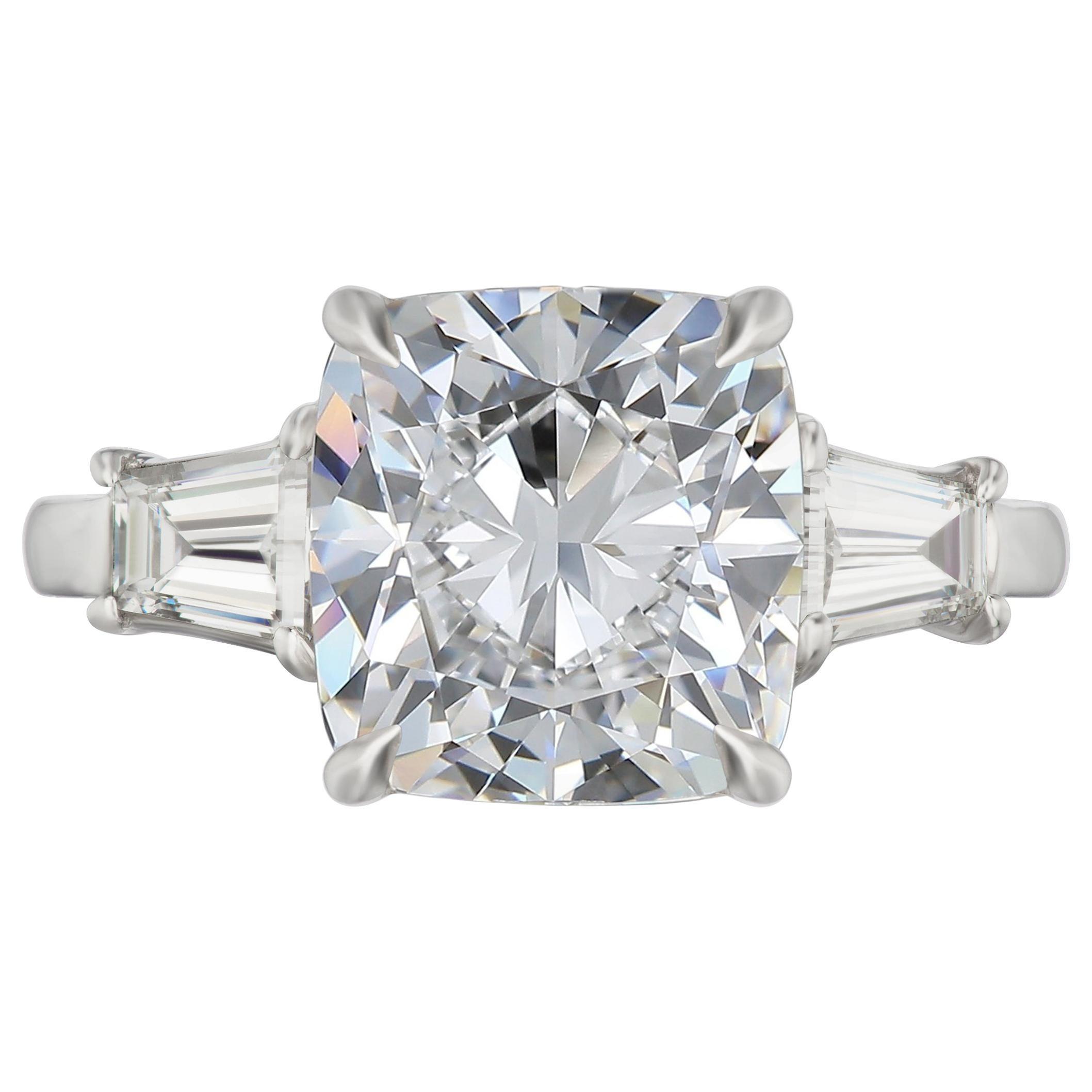 FLAWLESS GIA Certified 4 Carat Cushion Modified Brilliant Cut Diamond Ring