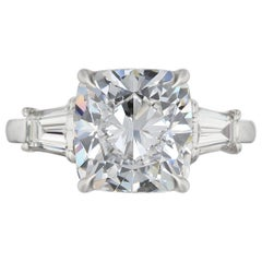 FLAWLESS GIA Certified 3.65 Carat Cushion Modified Brilliant Cut Diamond Ring