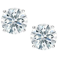 Internally Flawless F Color GIA 2.04 Carat Round Brilliant Cut Studs