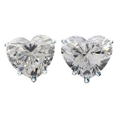 Internally Flawless F Color GIA Certified 0.84 Carat Heart Shape Diamond Studs