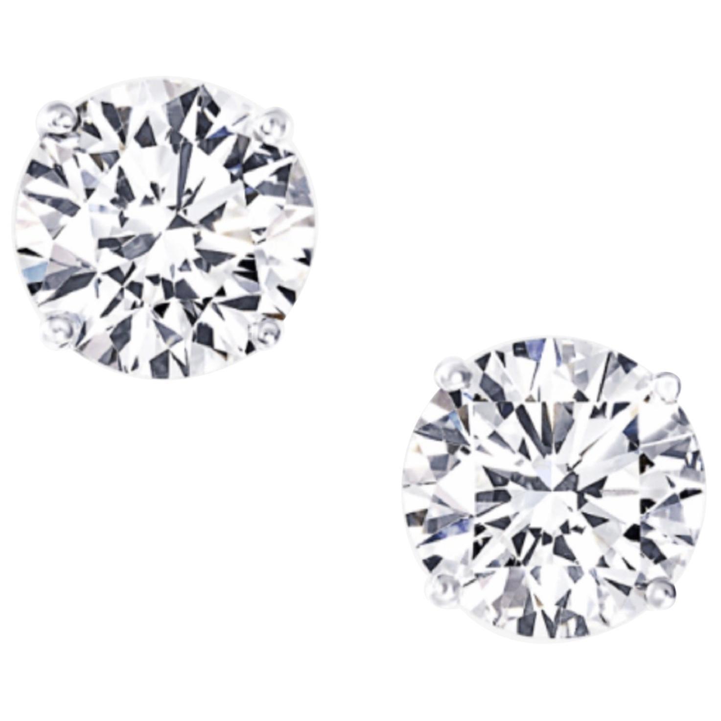 Internally Flawless D/E Color GIA Certified 1.85 Carat Diamond Studs