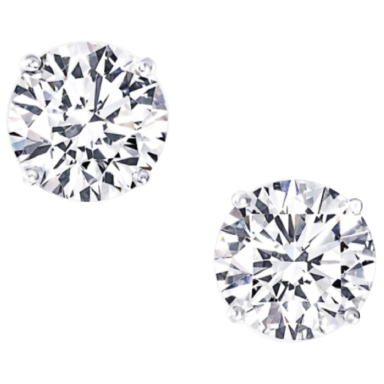 Internally Flawless D/E Color GIA Certified 1.85 Carat Diamond Studs For Sale