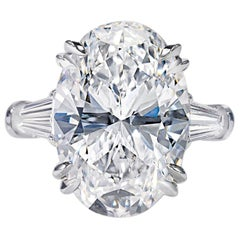 GIA Certified 2.55 Carat Oval Baguette Diamond Ring H Color VS2 Clarity