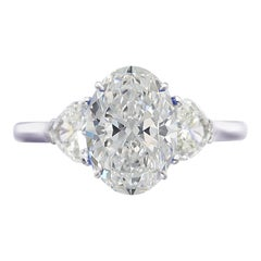 GIA Certified 2.60 Carat Oval Diamond Solitaire Ring VVS2 F Color