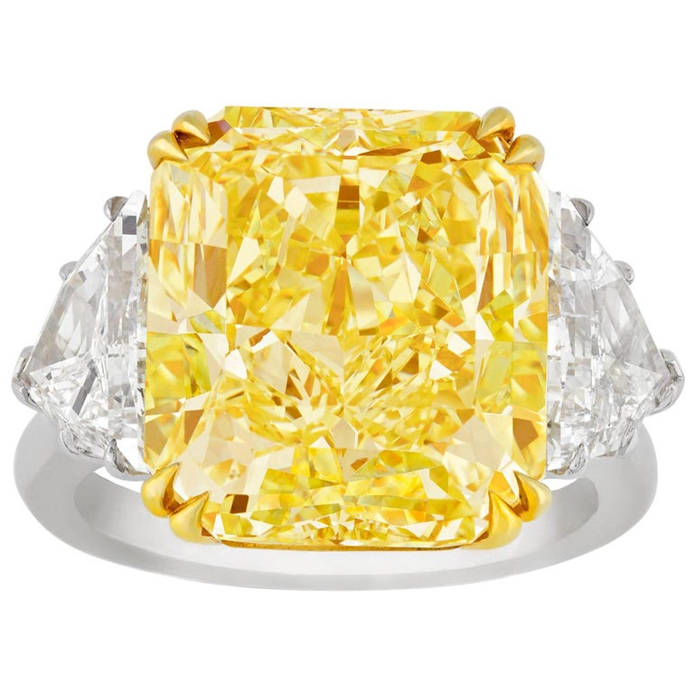 Internally Flawless Fancy Yellow Diamond Ring, 10.67 Carat For Sale