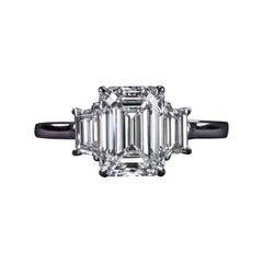 Internally Flawless GIA Certified 2.67 Carat Emerald Cut Diamond Platinum Ring