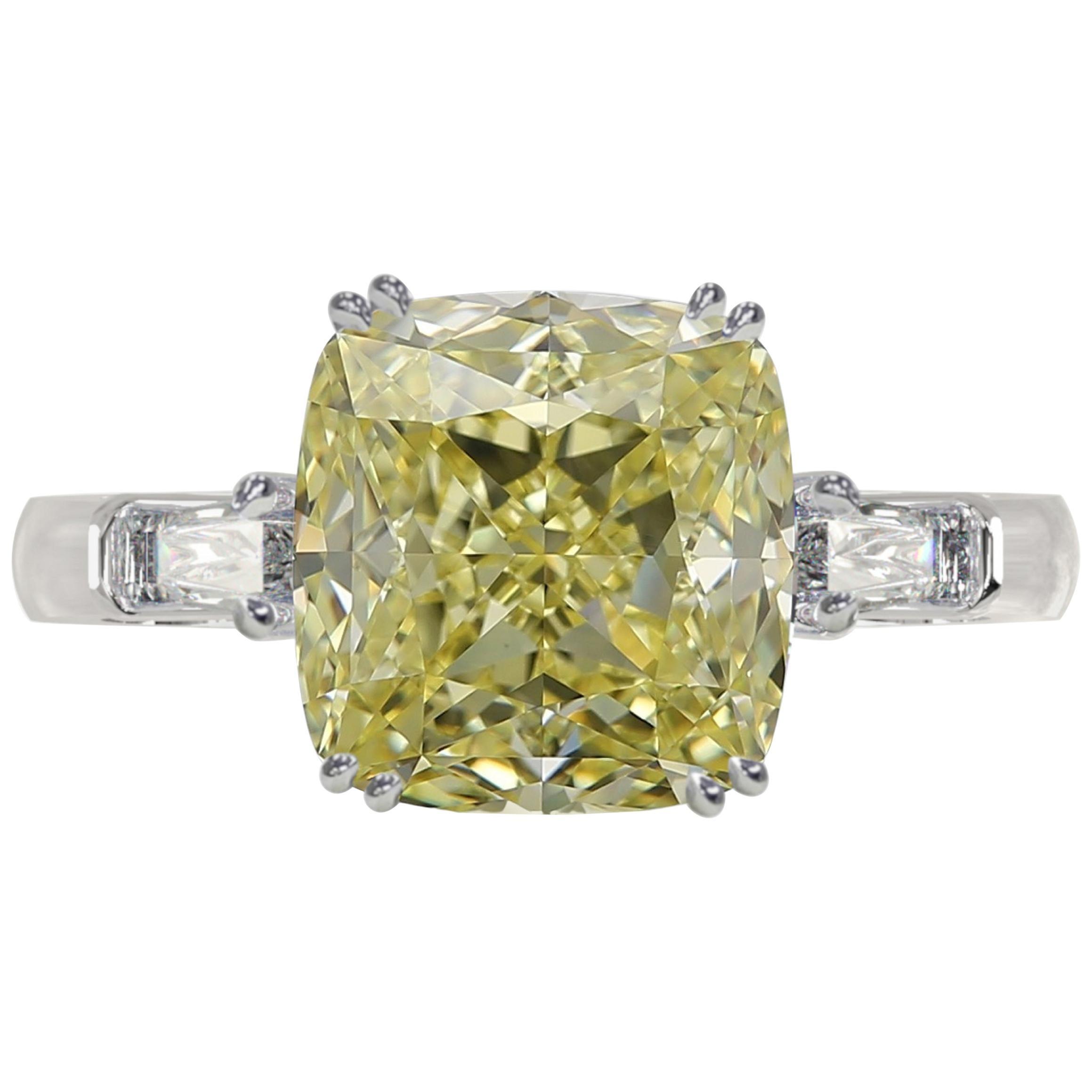 Internally Flawless GIA Certified 3.90 Carat Fancy Intense Yellow Diamond Ring