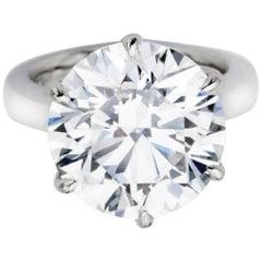 GIA Certified 4.29 Carat Round Brilliant Cut Diamond  Platinum Ring