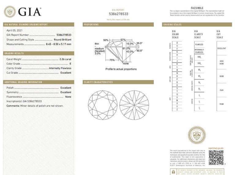 Round Cut Internally Flawless  GIA Certified 4.61 Carat Certified Diamond Studs For Sale