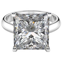 Internally Flawless GIA Certified 8.81 Carat Princess Cut Diamond Ring