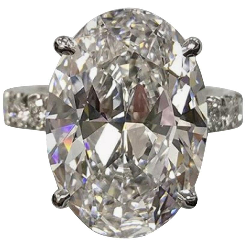 GIA Certified 5.85 Carat Oval Diamond Ring F Color VS2 Clarity