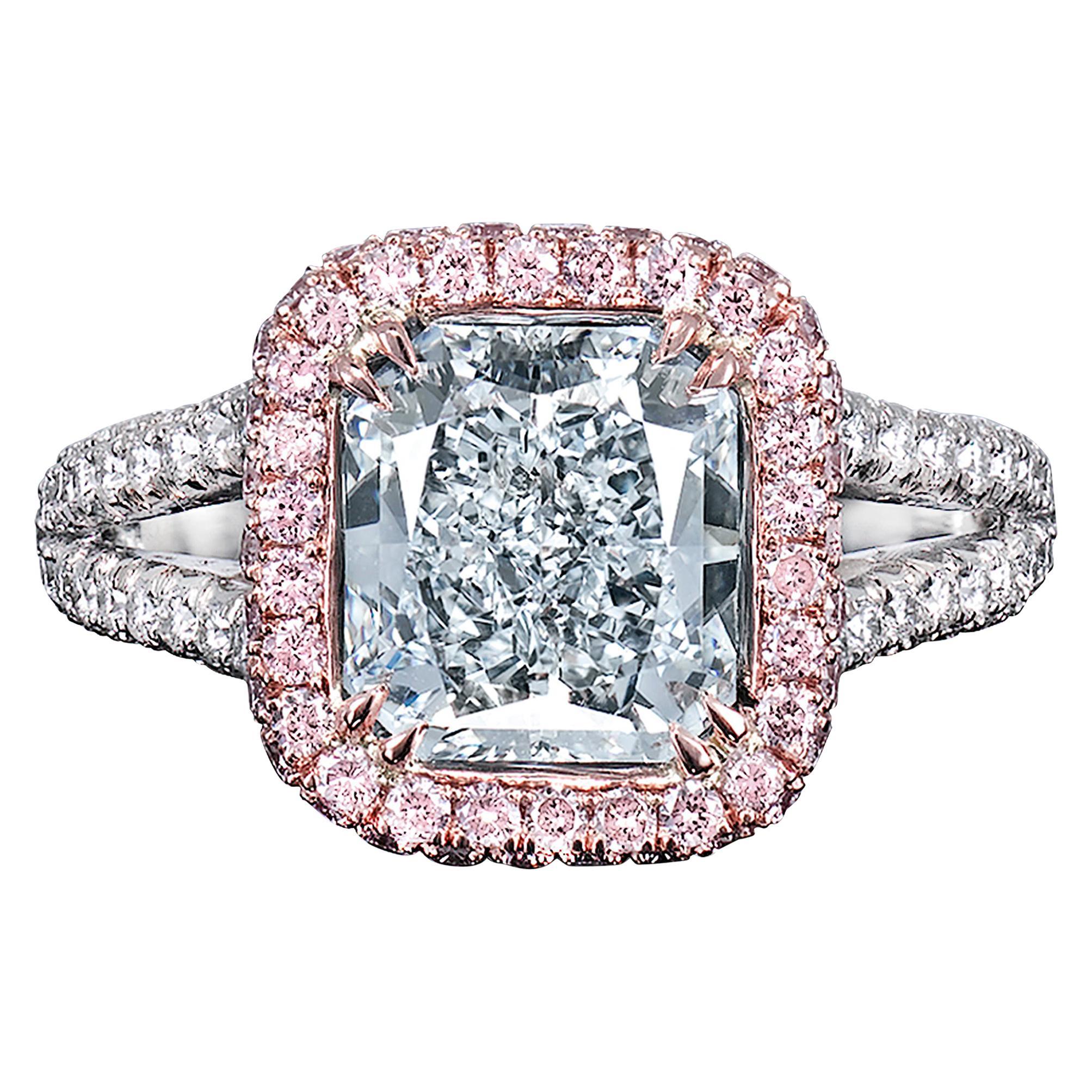 Internally Flawless Light Blue Diamond Ring, 2.43 Carat