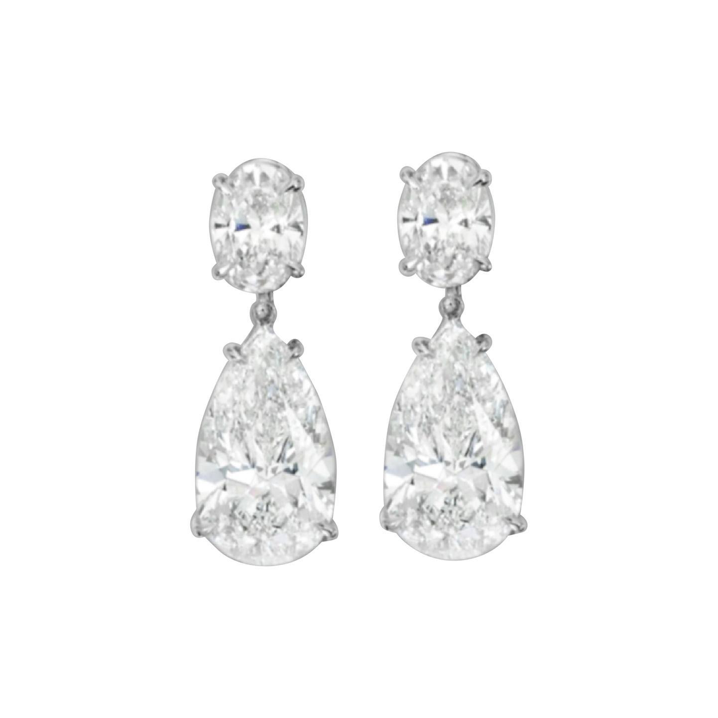 GIA Certified 5 Carat Oval Pear Cut Dangle Earrings