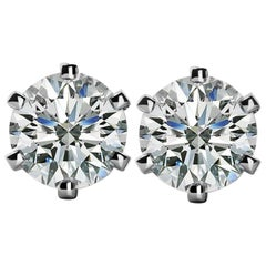 Internally Flawless VVS1 D Color GIA Certified 4.32 Carat Diamond Studs