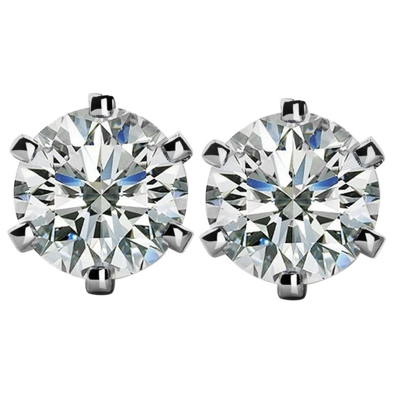 GIA Certified 4 Carat Diamond Studs INTERNALLY FLAWLESS For Sale