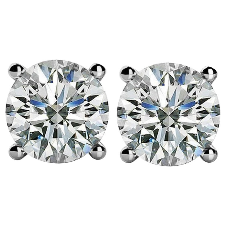 INTERNALLY FLAWLESS D Color GIA Certified 2 Carat Diamond Studs  For Sale
