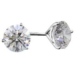 VVS GIA Certified 3.28 Carat Round Brilliant Cut Diamonds Triple Excellent Cut