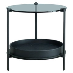 International Mid-Century Modern Three Black Metal Leg Round Small Table Ghyczy