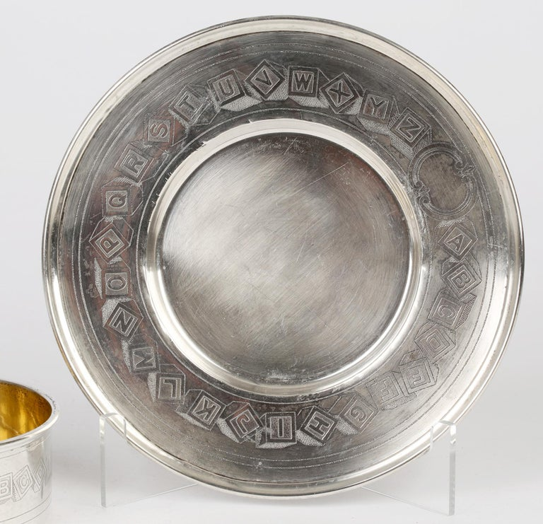 International Silver Company Art Nouveau Sterling Silver Childs Bowl & Stand For Sale 7