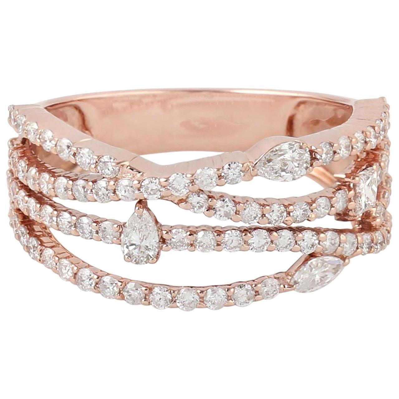 Intertwined 18 Karat Gold Diamond Engagement Ring