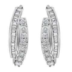 Intertwined Baguette and Round Diamond Hoop Earrings