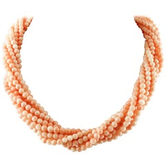 Intertwined Beaded Pink  Coral Spheres Necklace, 18K Yellow Gold Closure
