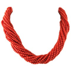 Intertwined Multi-Strands Coral Beaded Necklace with 18 Karat Gold Closure