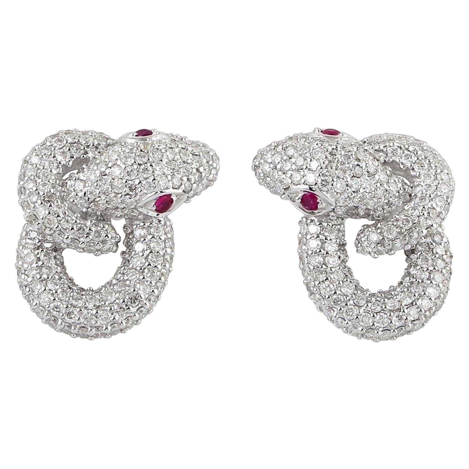 Intertwined Snake 18 Karat Gold Ruby Diamond Stud Earrings