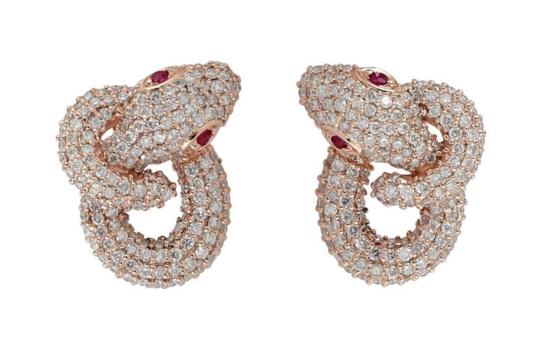 Single Cut Intertwined Snake 18 Karat Ruby Diamond Stud Earrings For Sale