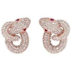 Intertwined Snake 18 Karat Ruby Diamond Stud Earrings