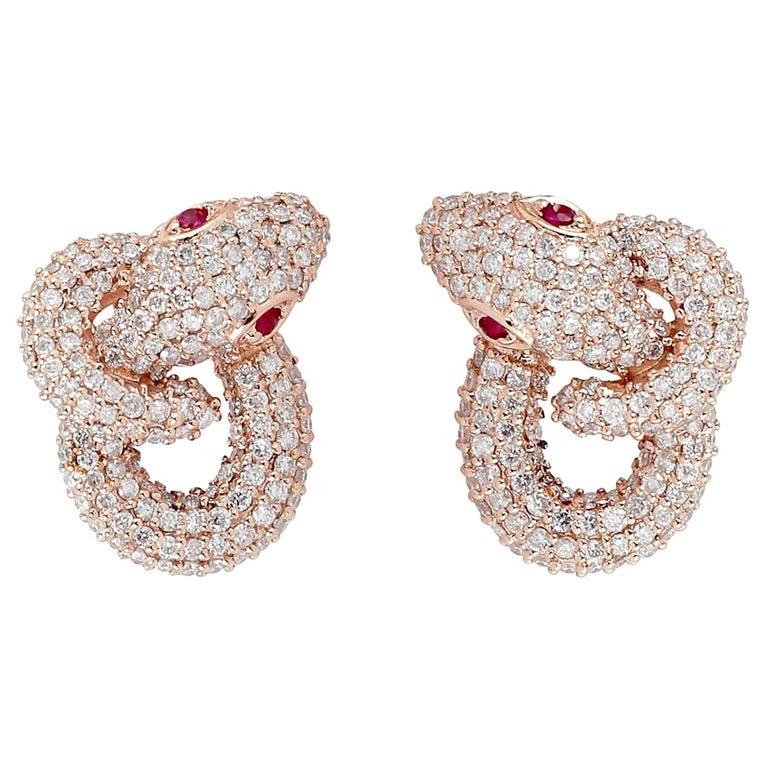 Intertwined Snake 18 Karat Ruby Diamond Stud Earrings For Sale