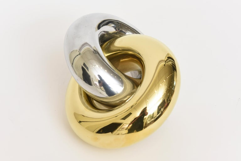 Modern Intertwined Twisted Brass and Chrome Plated Ring Sculpture Vintage For Sale