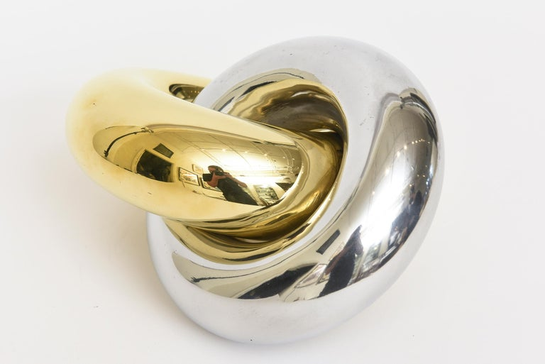 American Intertwined Twisted Brass and Chrome Plated Ring Sculpture Vintage For Sale