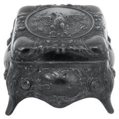 Interwar Metal Jewelry Box with Eagle