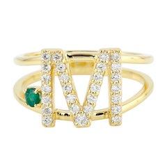 Intial Emerald Diamond 14 Karat Gold Ring