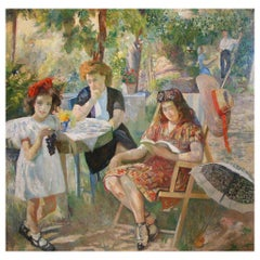 Intimity, Edoardo Gordigiani Impressionism 20th Century Oil Italian Painting