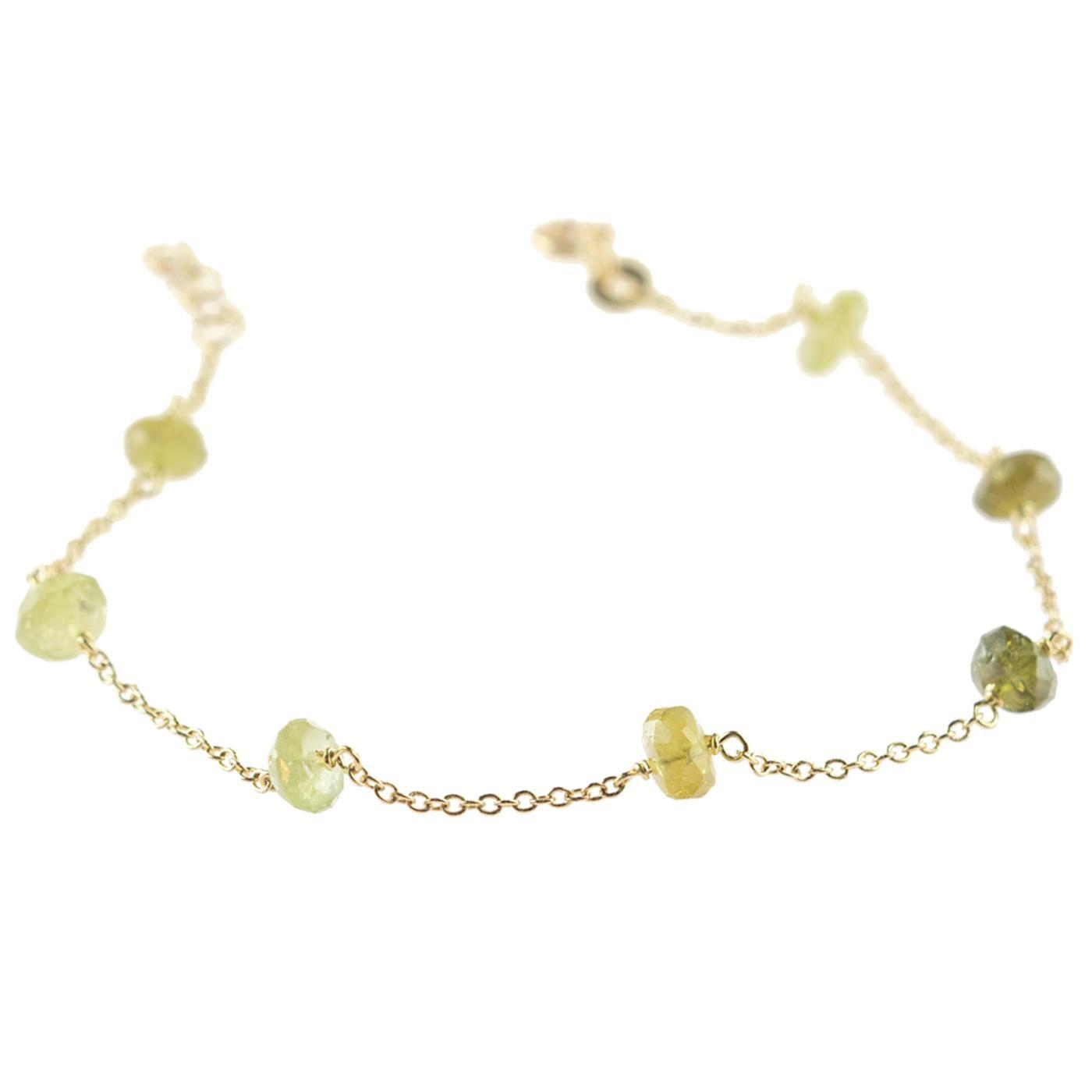 Intini Jewel Gold Plate Chain Green Tourmaline Rondelle Handmade Anklet Bracelet