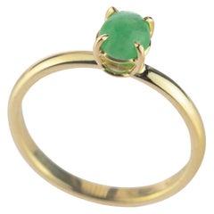 Intini Jewels 0.5 Carat Green Jade 18 Karat Yellow Gold Cocktail Chic Oval Ring