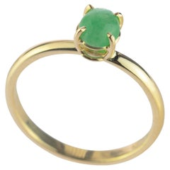 Intini Jewels 0.5 Carat Green Jade 9 Karat Yellow Gold Cocktail Chic Oval Ring