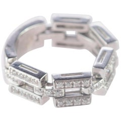 Intini Jewels 0.58 Carat Diamond Chain Link 18 Karat White Gold Cocktail Ring
