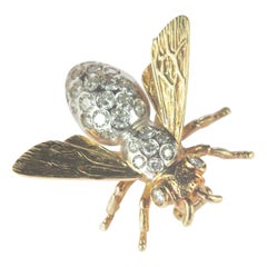 Intini Jewels 0.63 Diamond Mosquito Bee 18 Karat Gold Diamond Pin Insect Brooch