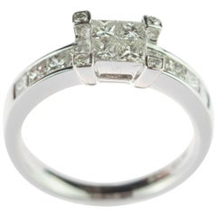 Intini Jewels 1.13 Karat Diamond 18 Karat White Gold Love Engagement Bridal Ring