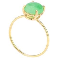 Intini Jewels 1.2 Carat Jade 18 Karat Yellow Gold Solitaire Cocktail Oval Ring