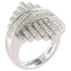 Intini Jewels 1.41 Diamond Brilliant 18 Karat White Gold Cluster Geometric Ring