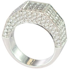Intini Jewels 1.57 Carat Diamond Cluster 18 Karat White Gold Band Cocktail Ring