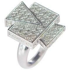Intini Jewels 1.69 Diamond Brilliant 18 Karat White Gold Cluster Geometric Ring