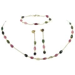 Intini Jewels 18 Karat Gold Chain Tourmaline Oval Earrings Necklace Bracelet Set