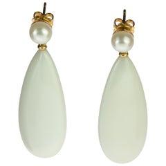 Intini Jewels 18 Karat Gold Flat Tear White Agate Crafted Stud Vintage Earrings