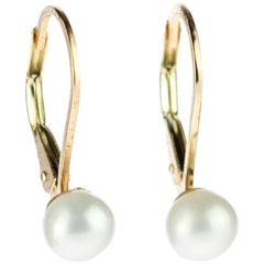 Intini Jewels 18 Karat Gold Freshwater Pearls Continental Closure Earrings