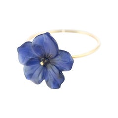 Intini Jewels 18 Karat Gold Lapis Lazuli Flower Spring Italian Handmade Ring